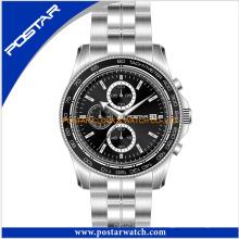 Relógio de cronógrafo de moda Relógio de aço inoxidável para homens