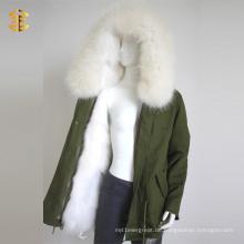 Weiß Waschbär Faux Pelz Mädchen Winter Warm Frauen Mantel