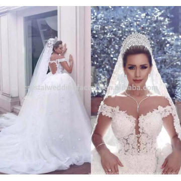Luxury Lace Applique Off the Shoulder Arab robe de mariage Casamento Puffy Detachable Train Wedding Dresses 2017 MW1005