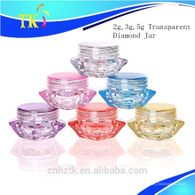 Cosméticos transparentes de diamante para envasado de botellas / 2g 3g 5g crema tarro