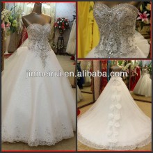 2014 Luxury Romantic Crystal Diamonds Studded Appliqued Beaded Bows Organza Sweetheart A-line Long Train Wedding Dress