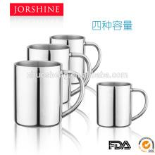 4 hochwertige Kapazitäten und heißer Verkauf behandeln Doppelwand-Kaffeebecher mit Metall