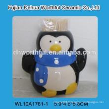Porte-cure-dents en céramique de haute qualité avec figurine pingouin