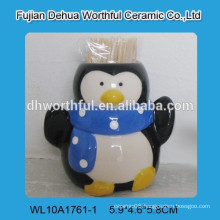 High quality ceramic toothpick holder with penguin figurine