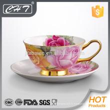 Beaux potes et soucoupes de thé en porcelaine en céramique