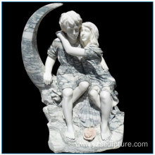 Multi Color Life Size Marble Young Couple Statue