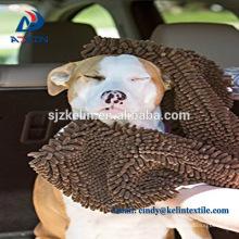 Weicher ultra saugfähiger Hund Microfiber Chenille Pet Handtuch mit Tasche
