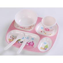 (BC-MK1007) Fashinable Design Réutilisable Melamine 5PCS Kids Cute Dinner Set