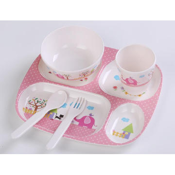 (BC-MK1007) Fashinable Design Reusable Melamine 5PCS Kids Cute Dinner Set