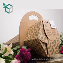 Großhandelskundenspezifischer Kegel-Form-Papier-frischer Blumen-Geschenk-Verpackenkasten mit gewölbtem Griff