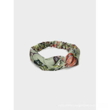 Fashion Hair Band Green Color Floral Printed Turban-Style Headband