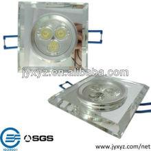 ShenZhen varios 3w de alta potencia cuadrado llevó la fabricación de luz de techo de cristal