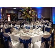 Housse de chaise 100% polyester avec ceinture en satin, housses de chaises pour hôtels / banquets