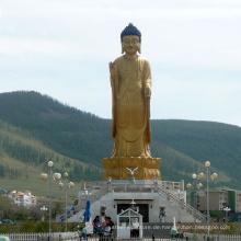hohe Qualität stehende moderne Messing Buddha-Statue