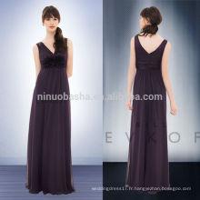 New 2014 Long Plum Empire robe de demoiselle d'honneur à encolure en V à pleine longueur avec plis à fleurs Filet de fermeture éclair en mousseline de soie robe de soirée NB0726