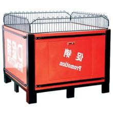Moda diseño supermercado popular metal plegable promoción mesa acero carro soporte promocional mesa de exhibición