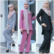 Скромно Дубай Fancy кружева Исламская одежда женщины блузка 2 шт Абая