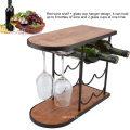 Minghou factory sale wooden and metal wine bottle holder racks 6 bottle rack