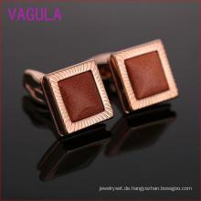 Quadratische rote Sand Kristall Rose Gold Plating Kupfer Manschettenknöpfe L52304