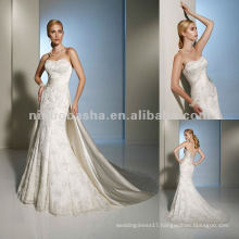 A functional corset back and removable straps wedding dress