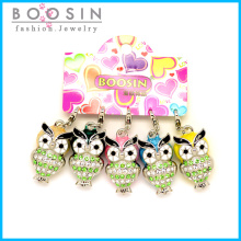 Cute Night Owl Rhinestone Bracelet Charm for Promotional Gift #18346