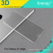 3D full cover anti-scratch tempered glass skin sticker for Samsung s7 edge transparent