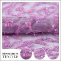 Nouveau concepteur paillettes violet tissu de tulle perlé pour la robe de mariée
