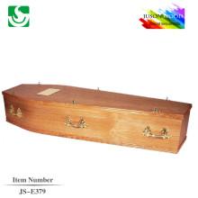 caixa de caixão de madeira sólida de lariço com alças de metal