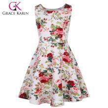Grace Karin Kinder Kinder Mädchen Ärmelloses Crew Neck Blumenmuster A-Line Sommerkleid CL010487-1
