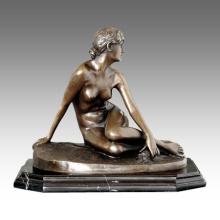 Figura desnuda estatua chica desaparecida escultura de bronce TPE-419