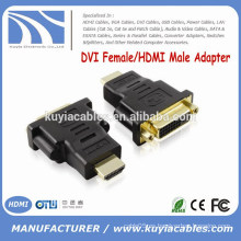 Alta calidad oro plateado DVI 24 + 5 a HDMI adaptador DVI hembra a HDMI macho conector