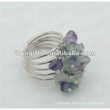Fluorite chip stone wrap rings