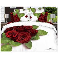 100% algodão conjunto de cama com grande flor 3d impressão reativa 133 * 72 thread count