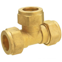 T1107 brass compression fitting brass tee/ brass pex fitting
