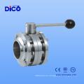 Válvula de mariposa de la soldadura 3PC del acero inoxidable para la industria alimenticia