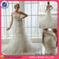 Model KB13017 luxurious see-through one shoulder bridal gowns with train