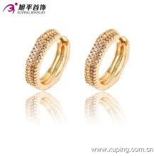 90940 dubai boucle d'oreille de bijoux en or, matériel environnemental de cuivre pour la boucle d'oreille faisant le luxe bijoux géométriques de haute qualité