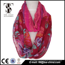 Red color splicing polyester and viscose lady scarf