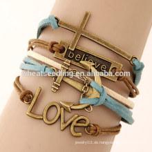 Vintage Liebe Kreuz Anker Legierung Zubehör mehrschichtige Leder Armband