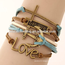 Vintage love cross anchor alloy accessory multilayer leather bracelet