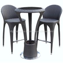 Muebles de mimbre al aire libre Bar taburete conjunto Patio rota jardín