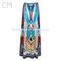 2017 venta al por mayor de impresión falda grande tutú de cintura alta faldas mujeres vestido de hada impreso midi dress