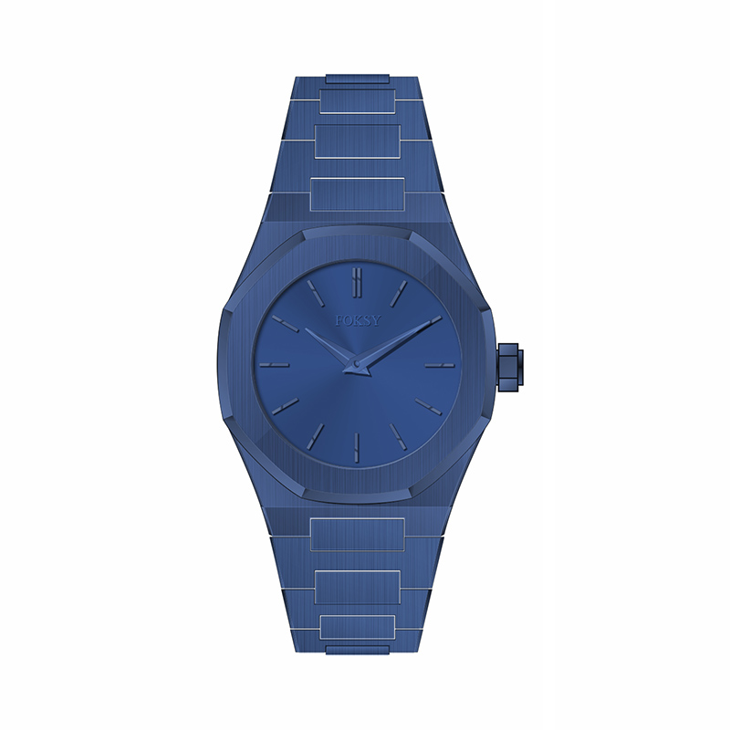 Blue dial and case quartz thin watch