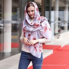 Las mujeres de moda de algodón suave impreso floral viscosa bufanda hijab mujeres