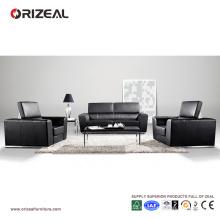 Sofá de cuero negro plegable cómodo grande Orizeal (OZ-OSF005)