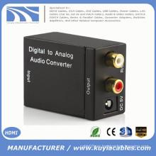 Convertidor de audio analógico a digital, analógico R / L a Toslink Amplificador de altavoz de audio coaxial