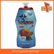 Alimentos Industrial Use stand up foil bico sacos para bebida ou chá de gelo embalagem