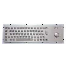IP65 panel mounting industrial metal keyboard with trackball and membrane