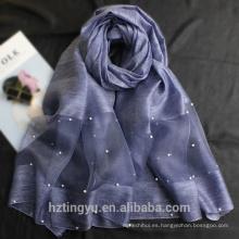Venta al por mayor hijab proveedores de la venta de impresión turca suave 100 real chal de seda bufanda de lana de seda mezcla de la marca perla hijab