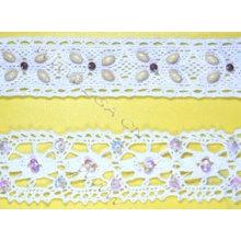 Baumwollspitze mit Zitronen oder Perlen